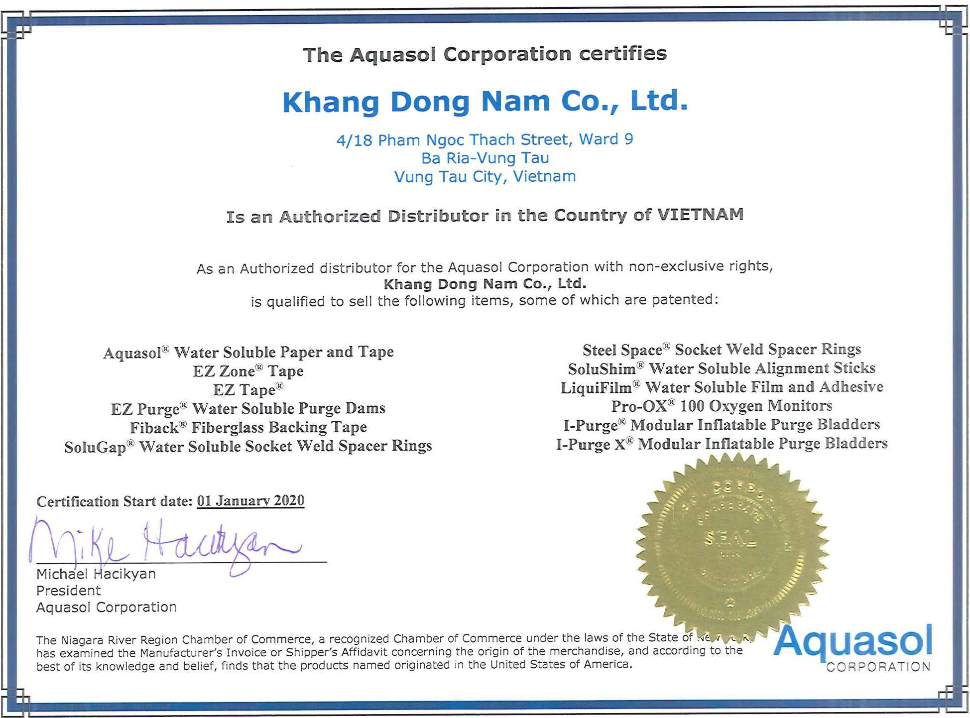 Đại Diện Hãng Aquasol Welding Tại Việt Nam